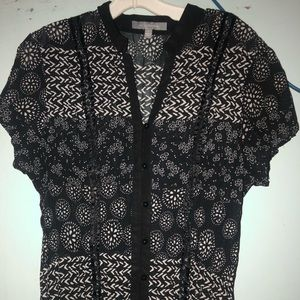 Black White button short sleeve shirt  Ny collecti